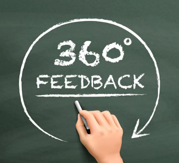 360 degree Feedback written on a chalkboard